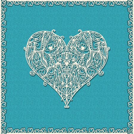 Abstract floral white lace heart on a blue background Vector
