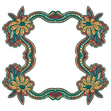 Floral frame on a white background Vector