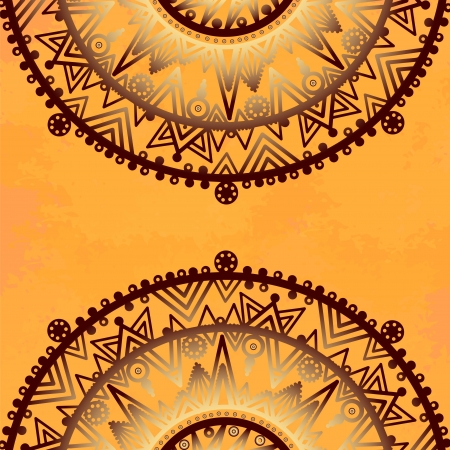 Vintage lace ornament on yellow background Vector