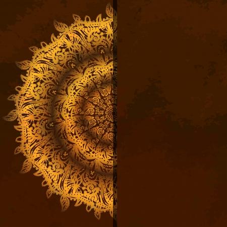 diameter: Invito carta d'epoca su sfondo marrone con pizzo ornamento oro