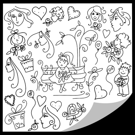 Cute doodle set of people and roses Stock Vector - 18791711