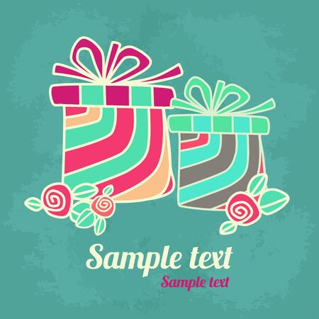 Holiday background with gifts, flowers and  space for text  Vector