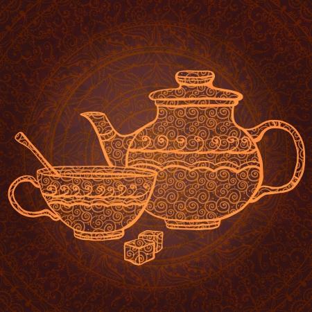 Fond de cru avec théière, tasse et le sucre Banque d'images - 18791791