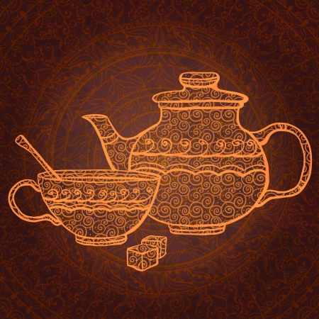 Vintage background with teapot, cup and sugar  Illustration