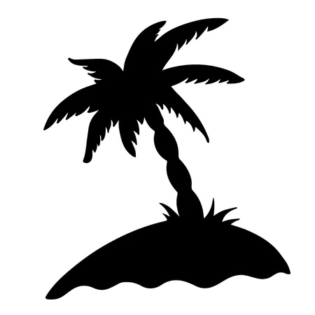 Isolated black silhouette of the island with a palm tree on a white background Stock Vector - 18791762