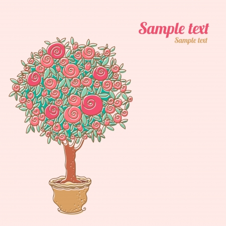 Vintage cards with stylized rose tree and space for text  Vector