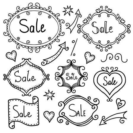 Doodle set frames and arrows on sale  Vector