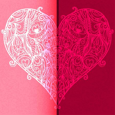 Lace heart  on a red background - vector Vector