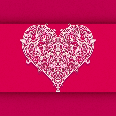 Lace heart  on a red background with space for text - vector Vector