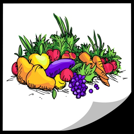 Fruit and vegetables - colorful illustration - vector Vector