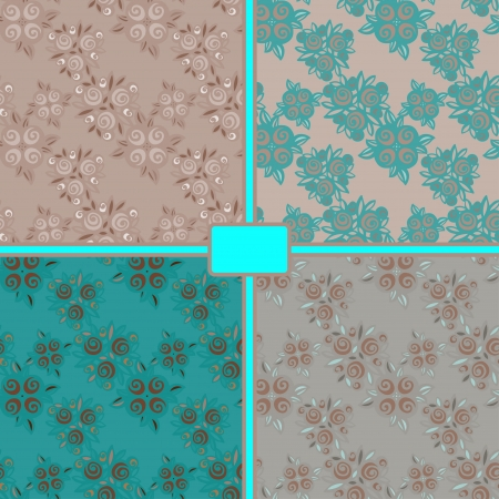 Set seamless floral patterns - vector Vector
