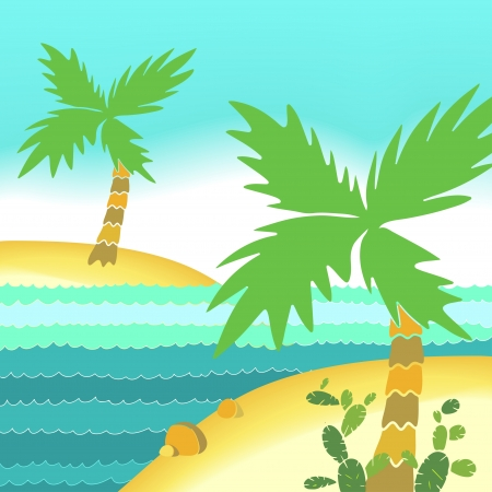 Sea beach landscape with palms - vector Vector