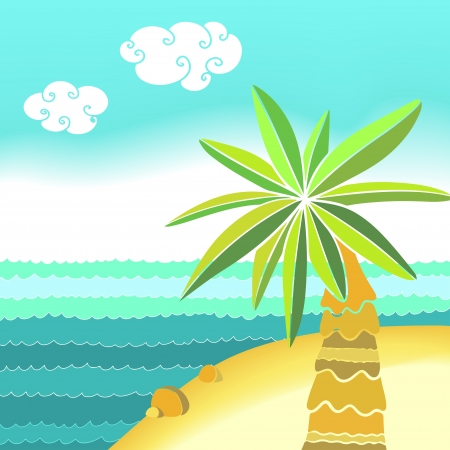 Sea beach landscape with palm - vector Vector