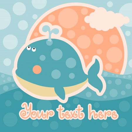 Baby shower card with whale and space for text - vector Vector