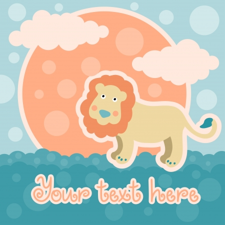 Baby shower card with lion and space for text - vector Vector