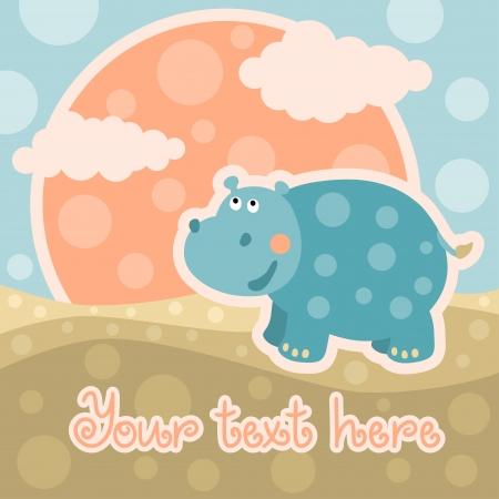 Carte de douche de bébé avec hippopotame et l'espace pour le texte - vecteur