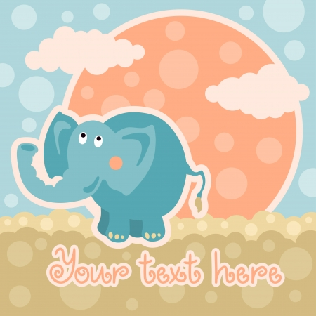 Baby shower card with elephant and space for text - vector Vector