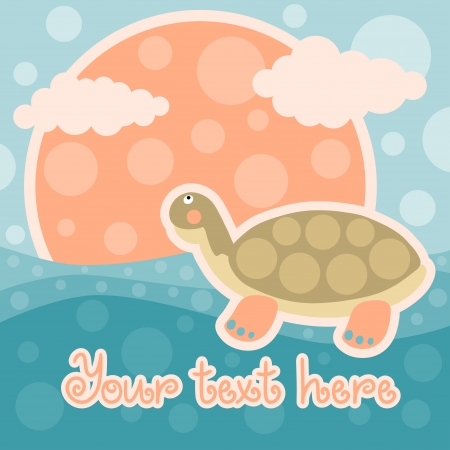 Baby shower card with turtle and space for text - vector Vector