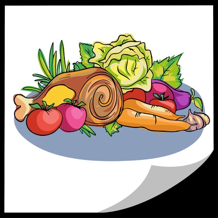 Meat and vegetables - colorful illustration - vector Vector