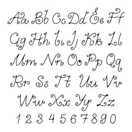 lowercase: Set alphabet calligraphic - vector Illustration