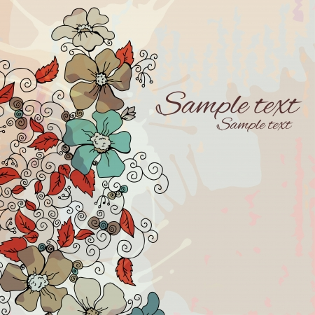 Vintage floral background with space for text - vector Vector