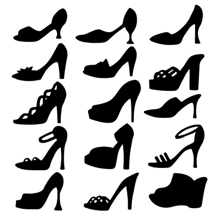 Set of womens shoes isolated black silhouette - vector