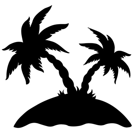 Palm island isolated black silhouette on a white background -  vector