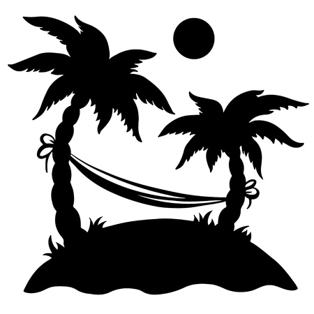 Palm island with hammock and sun isolated black silhouette on a white background -  vector