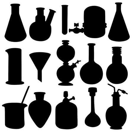 Chemicals set icons isolated black silhouette on a white background - vector Stock Vector - 19031837