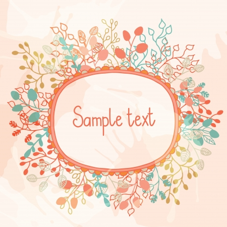 Floral background with frame and a place for text  Vector
