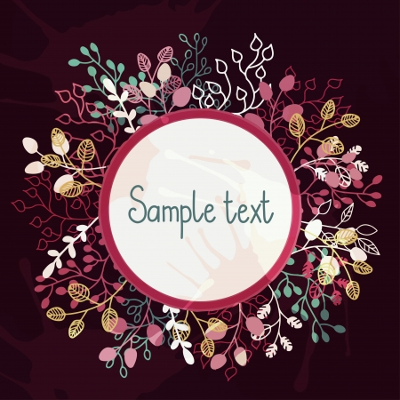 valentine s card: Floral background with frame and a place for text - vector