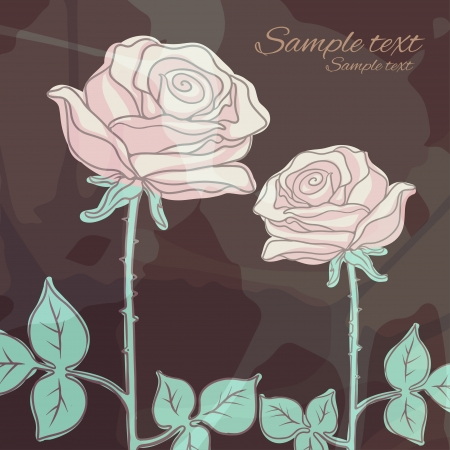 Vintage floral background with roses  Vector