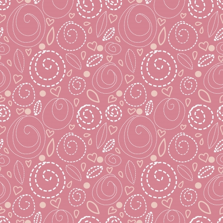 Pink floral seamless pattern with hearts  Stock Vector - 19317446