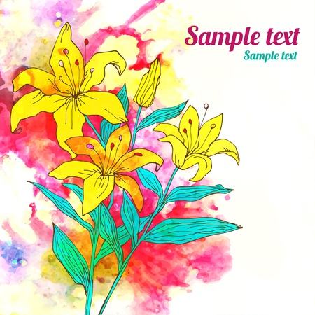 Floral watercolor background with space for text  Vector