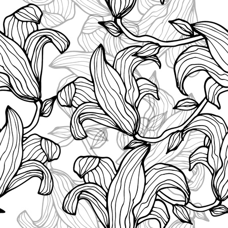 Gray monochrome floral seamless pattern  Vector