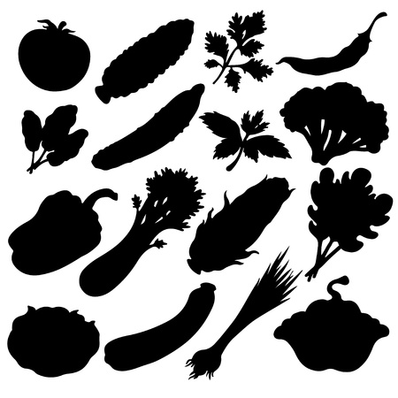 Vegetables icons set black silhouette isolated on a white background  Vector