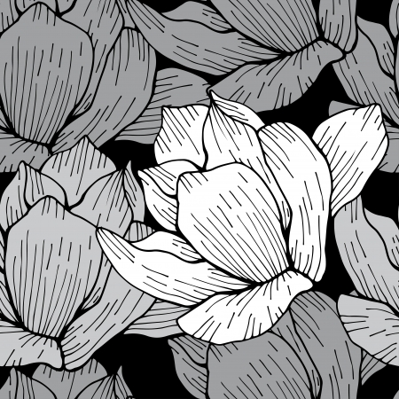 Gray floral seamless pattern - vector Vector