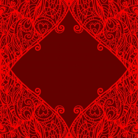 Holiday red background with hearts and place for text - vector Stock Vector - 19472956
