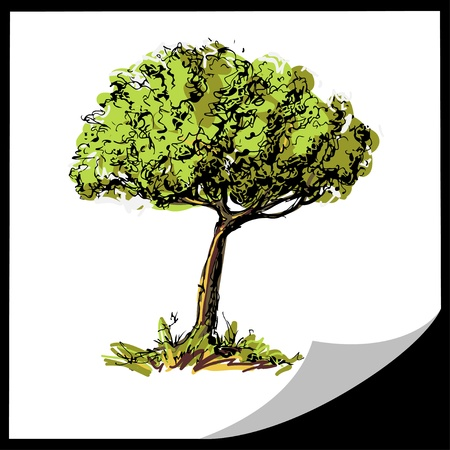 Cards with tree and space for text - vector Vector