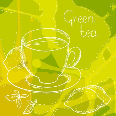 Background with a tea cup and lemon - vector Vector