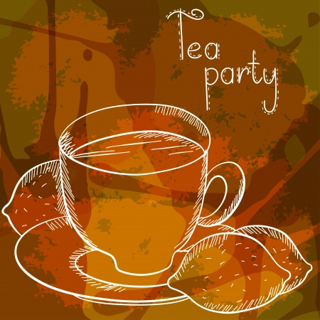 Background with a tea cup and lemon - vector Stock Vector - 19472969
