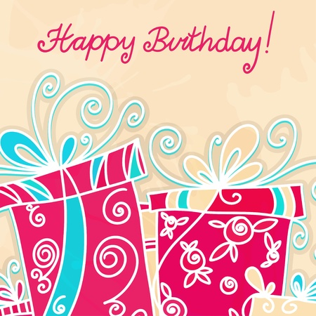 happy birthday text: Happy birthday background with gifts - vector