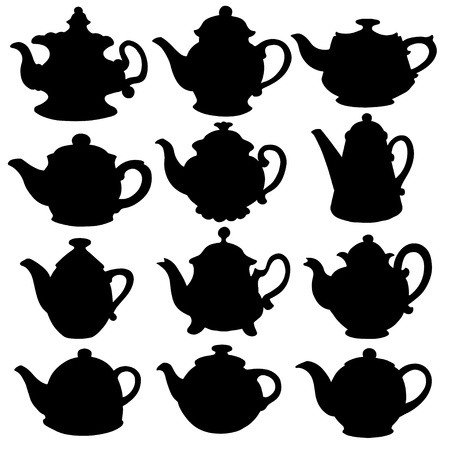 pot: Set isolated icon silhouette kettles, teapots, coffee pot - vector Illustration