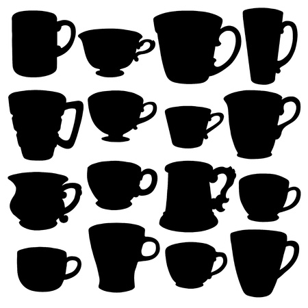 Set isolated icon silhouette teacups, demitasse, coffee cups, mugs - vector Vector