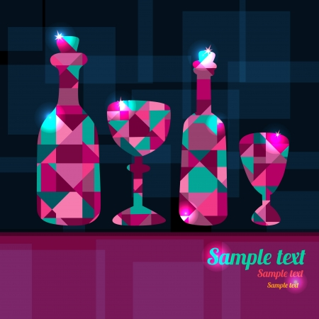 Abstract background with bottles, wine glass and space for text - vector