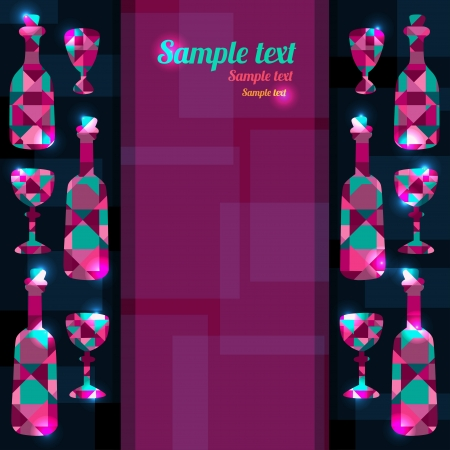 Abstract background with bottles, wine glass and space for text - vector Vector