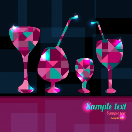 Abstract background with cocktails, wine glass and space for text - vector