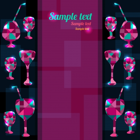 Abstract background with cocktails, wine glass and space for text - vector Vetores