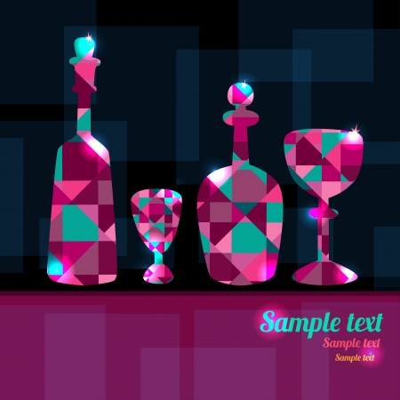 Abstract background with decanters, wine glass and space for text - vector