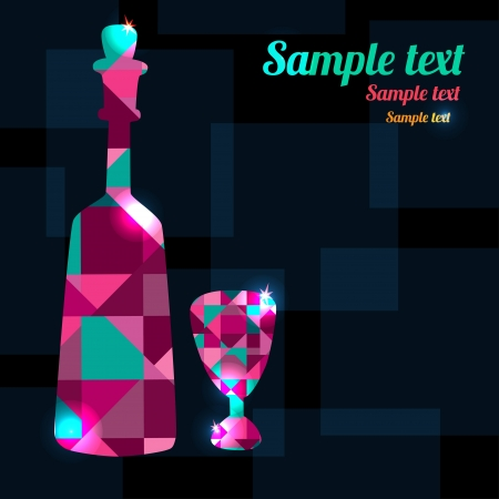 Abstract background with bottle, wine glass and space for text - vector